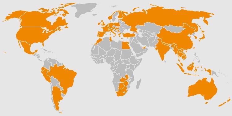 訪問した国のマップ