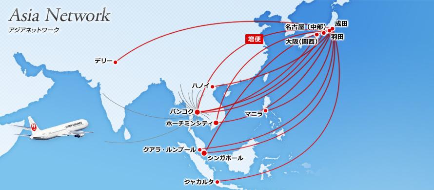 JALアジア就航路線